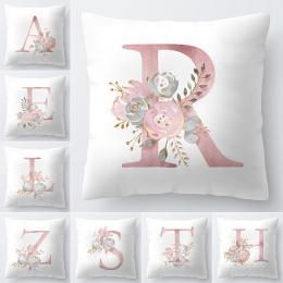 List poszewka na poduszkę 45x45 cm pokój alfabetu angielskiego dla domu towary 1 PC kwiat poszewka na poduszkę poliester