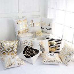 2019 złota brązujący poszewki na poduszki luksusowe geometryczne ananas bawełniana poszewka na poduszkę biała sypialnia biuro w