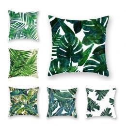 Tropikalne rośliny poszewka Na poduszkę poliester dekoracyjne Poszewki Na Poduszki zielone liście rzuć poszewka Na poduszkę plac