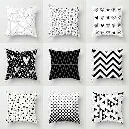 YWZN czarno białe geometryczne dekoracyjne poszewki na poduszki poliester rzuć poszewka na poduszkę w paski geometryczna poszewk