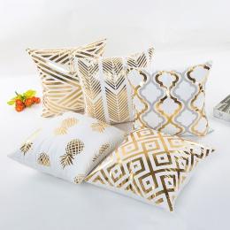 YOYIHOME 2019 złota brązujący poszewki na poduszki luksusowe geometryczne ananas bawełniana poszewka na poduszkę biała sypialnia