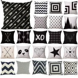 Poszewka na poduszkę czarny i biały wzór poszewka bawełniana pościel drukowane 18x18 cali geometria Euro poszewki na poduszki da