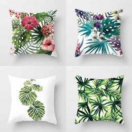 YWZN tropikalne rośliny poszewka na poduszkę poliester dekoracyjne poszewki na poduszki zielone liście rzuć poszewka na poduszkę