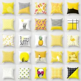 45*45 cm domu ananas liść żółty poszewka na poduszkę talia rzut miękki drukuj poliester poszewka na poduszkę