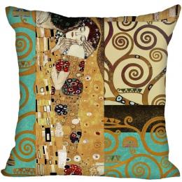 Gustav Klimt Satin poszewka na poduszkę Style rzuć poszewka na poduszkę kwadratowa poszewka na poduszkę prezent 40x40 cm wysokie