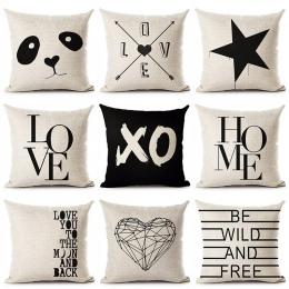 Deer Home miłość gwiazda Panda drukowane bawełniane lniana poszewka na poduszkę dekoracyjne biuro domu rzuć poszewka na poduszkę
