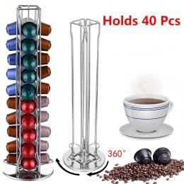 360 obracanie 40 kapsułka uchwyt na kapsułki kawy kapsułki dozowania stojak na wieże pasuje do do kapsułki Nespresso do przechow