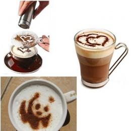 16 sztuk wzornik do kawy filtr ekspres do kawy Cappuccino kawy Barista formy szablony posypać kwiaty Pad Spray sztuki narzędzia