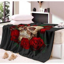 Drzemka koc Super miękkie przytulne aksamitne pluszowy koc ozdobny kwiatowy czaszka nowoczesna linia Art Sherpa koc na kanapie r