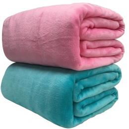 Miękki ciepły koral koc z polaru zima arkusz narzuta na łóżko Sofa kratę rzut 220Gsm 6 rozmiar lekki cienki pranie mechaniczne k