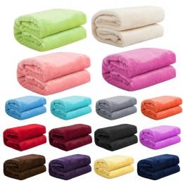 Tekstylia domowe jesień i zima flanela koc z wełny ciepły miękki koral polar koc pościel dorosłych solidna pokrywa łóżko sofa łó