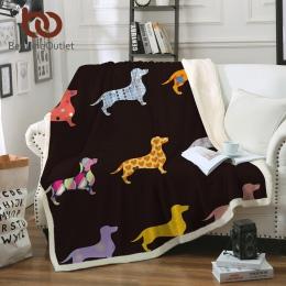 BeddingOutlet jamnik kiełbasa Sherpa koc dla dziecka dorosłych Cartoon kolorowe pluszowy koc ozdobny pies szczeniak cienka kołdr