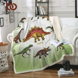 BeddingOutlet rodzinie dinozaurów koc dla dzieci kreskówka z mikrofibry jurajski pluszowe koc typu sherpa na kanapa z funkcją sp