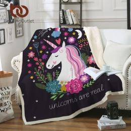 BeddingOutlet Cartoon jednorożec pluszowy koc ozdobny kwiatowy Print dla dzieci dziewczyna Sherpa koc na kanapie czarny cienka k