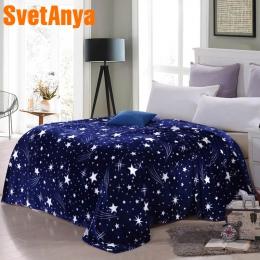 Svetanya gwiazdy galaxy koc niebieski polar flaneli sofa rzuty zima prześcieradło twin królowa król w kratę