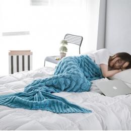 Miękkie dziergany koc w kształcie ogona syrenki szydełkowe ręcznie robione na śpiwór dla dzieci dla dorosłych przez cały sezon n
