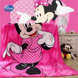 Disney Cartoon różowy Minnie Mickey Mouse miękki flanelowy koc rzut dla dziewczynek dzieci na kanapa z funkcją spania kanapa 150