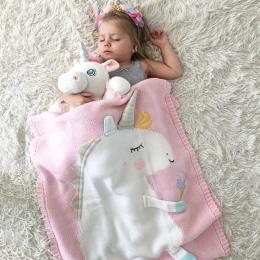 60 cm * 120 cm Cartoon Flamingo Deer jednorożec zwierząt Cute Baby rzut koc Sofa łóżko podróży pledy wełny nici koc dla dzieci p