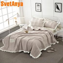 2018 światła kawy pikowania letnia kołdra myte poliester granicy narzuta komplet 3 Pc koce 250x250 cm szwy łóżko obejmuje