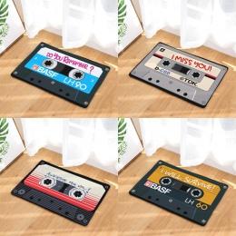 W stylu Vintage wejście Anti-Slip wycieraczka magnetyczne casset taśma Mix taśmy dywany dywaniki do sypialni dekoracyjne mata na
