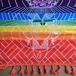 Lepszej jakości wykonane z bawełny czechy indie Mandala koc 7 Chakra tęczowe paski Tapestry Beach rzuć ręcznik mata do jogi