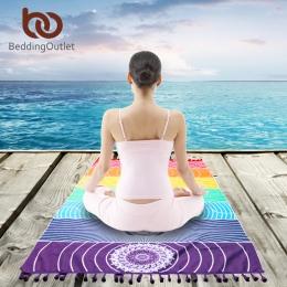BeddingOutlet 7 Chakra tęczowe paski plaży ręcznik dla dorosłych Mandala koc z mikrofibry prostokąt czeski gobelin mata do jogi