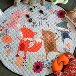 Home decor dla dzieci pokój dywan okrągły 150*150 cm fox mata do zabawy dla dzieci Patchwork koc piknikowy ANITSLIP tapetes para