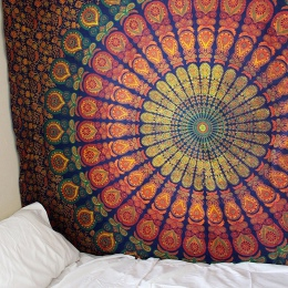 Duża 200x150 cm Mandala gobelin indyjski ściany wiszące czeski mata plażowa kocyk poliestrowy mata do jogi domu sypialnia sztuki