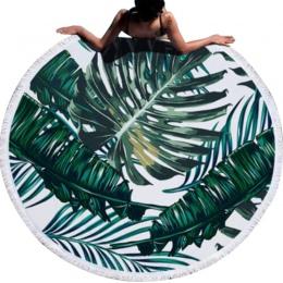 Urijk wydrukowano tropikalnych liście kwiat ręcznik plażowy okrągły ręczniki plażowe z mikrofibry do salonu wystrój domu w stylu