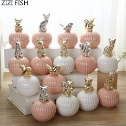 Różowy śliczne zwierzęta biżuteria ceramiczna pudełka ślub pierścień ozdoba Box z kryształ uchwyt kolczyk biżuteria pudełko do p