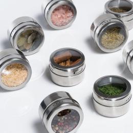 12 sztuk/zestaw jasne pokrywy magnetyczne Spice słoik cynowy Spice Sauce ze stali nierdzewnej do przechowywania słoiki do magazy