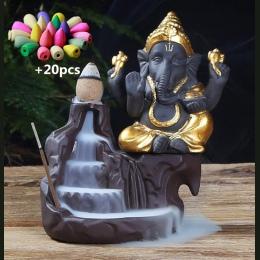 NOOLIM Ganesha cofaniu kadzidła palnika słoń boga godło pomyślny i sukces ceramiczne stożek Censer wystrój domu z 20 pc szyszki
