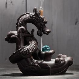 Ceramiczna kadzielnica z przepływem zwrotnym kreatywna dekoracja do domu smok uchwyt kadzidła kadzielnica z kryształową kulą + 2