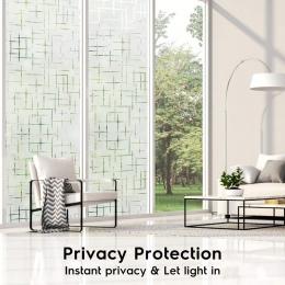 Dostępne różne rozmiary PVC Static Cling samoprzylepna folia szklana, tłoczone matowe nieprzezroczyste wystrój domu naklejki na