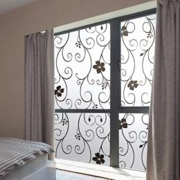 Nowo pcv czarny kwiat słodkie matowe prywatności pokrywa szklane drzwi okno film naklejany samoprzylepne Home Decor 99