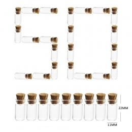Hot 50 sztuk/zestaw 11*22 MM 1 ML miniaturowe szklane butelki słoiki puste próbki z korka korki dla majsterkowiczów Craft dekora