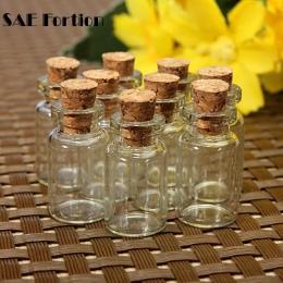10 sztuk małe Mason Jar szklany słoik Tiny wyczyść pusty chcesz butelka z korkiem korek Mini pojemniki przezroczyste butelki sło