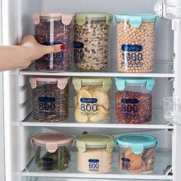 Gospodarstwa domowego przezroczyste plastikowe uszczelnione puszki żywności słoiki kuchenne zbóż ziarna pudełka do przechowywani