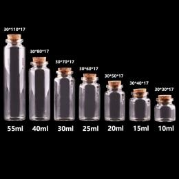 24 sztuk 10 ml 15 ml 20 ml 25 ml 30 ml śliczne przezroczyste szklane butelki z korka korek puste pojemnik na przyprawy słoiki DI