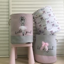 Składany kosz na bieliznę na brudne ubrania różowy balet dziewczyna zabawki kosze torba organizator dla dzieci do przechowywania