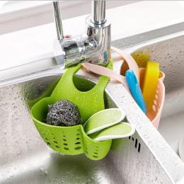 Przyjazne dla środowiska Kitchen Sink gąbka do przechowywania kosz wisi regulowany Snap przycisk typu stojak spustowy kran kosze