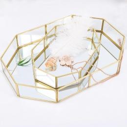 , Co zrobić, jeśli kosze do przechowywania w stylu Vintage złoty wielokąta w kształcie organizator mosiądzu jasne szkło ozdobne