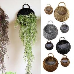 Wiszące na ścianie naturalne wiklinowy kosz na kwiaty kwiat doniczka Rattan wazon kosz dekoracji ścian domu ogród pojemnik do pr