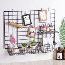 Siatka wisząca kosz żelaza ściany dekoracji na ścianie innowacyjny kwiat garnek półka małe przedmioty stojak na kryty wisiorek
