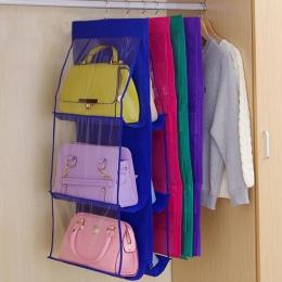 Dwustronnie przezroczysty 6 kieszeni składany wiszące, torebka, torebka, torba do przechowywania różnego typu Tidy organizator s