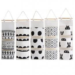 Czarny biały wzór Cotton Linen wisząca torba do przechowywania 3 kieszenie naścienna szafa na ubrania torba do powieszenia na śc