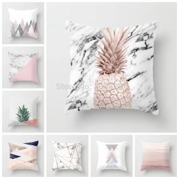 ZENGIA różowy geometryczne Nordic poszewka Tropic ananas rzut poszewka na poduszkę poliester poszewka na poduszkę Sofa łóżko pod