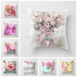 ZENGIA Euro dekoracja do domu poszewka róża kwiat rzuć poduszka na kanapę w stylu śródziemnomorskim poszewka na poduszkę na dzie