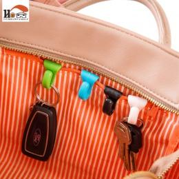CUSHAWFAMIY 2 sztuk kolorowe mini wbudowany klips do torebek zapobieganie stracił klucz uchwyt z hakiem klipsy do przechowywania