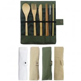 7-sztuka drewniana sztućce sztućce zestaw bambusa słomy zestaw obiadowy z płócienna torba noże widelec łyżka pałeczki podróży hu